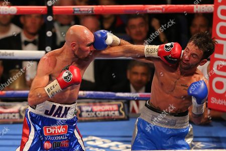 Stock Photo of Lee Haskins and Stuart Hall   fight  at  The O2 Arena , Peninsula Square London  on 10th September 2016