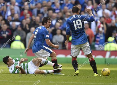 L to R, Celtic's Tomas Rogic, Rangers Joey Barton and Rangers Niko Kranjcar