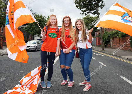 Stock Image of Liberty Insurance All-Ireland Junior Camogie Championship Final, Croke Park, Dublin 11/9/2016. Armagh vs Carlow. Armagh fans Geraldine Kiernan, Eimear Grimley and Melissa Smith before the game