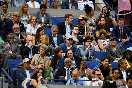 Stock Image of (From top to bottom and left to right ) Judd Hirsch and Michael Cristofer, Anna Wintour, Rod Laver,  Kevin Spacey, Evan Lowenstein, Guillermo Vilas, Michael J. Fox and Tracy Pollan look on in the Men's Final in the US Open 2016 between Stan Wawrinka and Novak Djokovic at the Billie Jean King National Tennis Centre, Queens, New York on the 11th September 2016