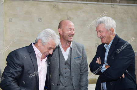 l-r Kevin Keegan (left) and Terry McDermott joins Alan Shearer (centre) as they share a joke together during the unveiling of the Alan Shearer statue at St. James' Park, Newcastle upon Tyne on 12th September 2016