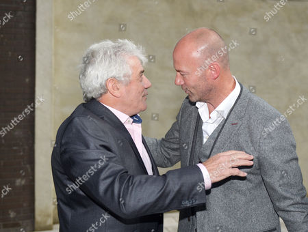 Kevin Keegan (left) greets Alan Shearer during the unveiling of the Alan Shearer statue at St. James' Park, Newcastle upon Tyne on 12th September 2016