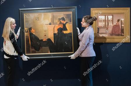 Jack Vettriano.  (L) Beautiful Losers. Est: £150,000-200,000.  (R) Model in White. Est: £40,000-60,000