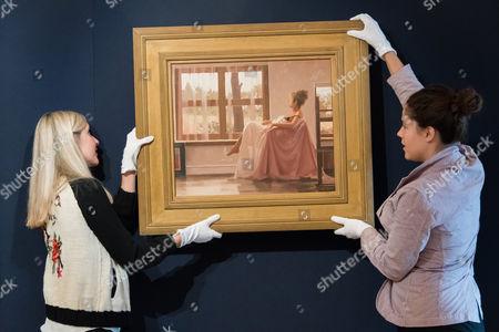 Stock Picture of Jack Vettriano. Model in White. Est: £40,000-60,000