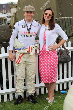 Sir Chris Hoy and his wife Sarra Kemp. Chris is driving an Austin A35 in the St Marys Trophy.