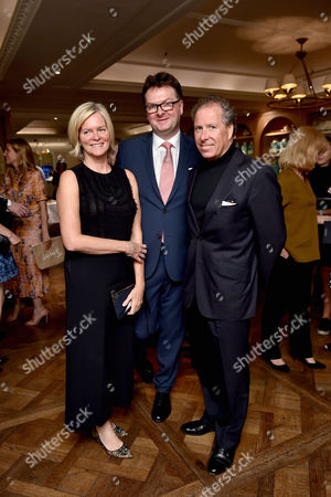 Ruth Kennedy, Ewan Venters and Viscount David Linley attends Fortnum's X Frank private view at Fortnum & Mason