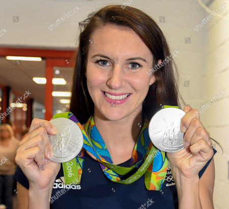 Stock Picture of   Jazmin Carlin brings back her Olympic Silver medals to show the Swindon Tigersharks.