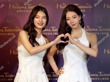 Stock Image of Bae Su-ji South Korean actress Bae Su-ji, left, poses with the wax figure of her at Madame Tussauds wax museum in Hong Kong