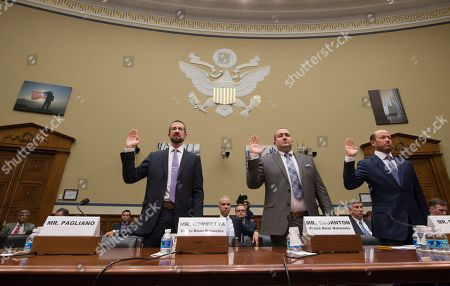 Paul Combetta, Bill Thornton, Justin Cooper Witnesses, from left, Paul Combetta, Platte River Networks, Bill Thornton, Platte River Networks, and Justin Cooper are sworn in on Capitol Hill in Washington, prior to testifying before the House Oversight and Government Reform Committee hearing on 'Examining Preservation of State Department Records.' Bryan Pagliano, former senior advisrr, Information Resource Management, State Department of State did not appear, empty seat at left