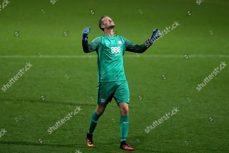 Anders Lindegaard celebrates his sides third goal during the SKY BET Championship match between Preston North End and Cardiff City played at Deepdale, Preston on 13th September 2016