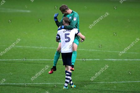 Preston North End goalkeeper Anders Lindegaard celebrates his sides third goal with Tom Clarke during the SKY BET Championship match between Preston North End and Cardiff City played at Deepdale, Preston on 13th September 2016