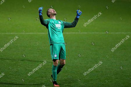 Preston North End goalkeeper Anders Lindegaard celebrates his sides third goal during the SKY BET Championship match between Preston North End and Cardiff City played at Deepdale, Preston on 13th September 2016