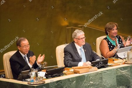 UN Secretary General Ban Ki-moon leads applause for outgoing UN General Assembly President Mogens Lykketoft (c). Peter Thomson of Fiji assumes the presidency of the 71st UN General Assembly.