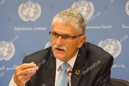 Stock Picture of Mogens Lykketoft, outgoing president of the 70th session of the UN General Assembly, holds his final UN press conference.