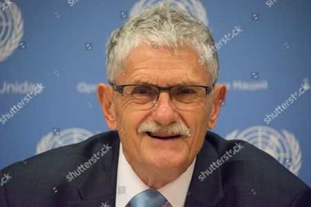 Stock Photo of Mogens Lykketoft, outgoing president of the 70th session of the UN General Assembly, holds his final UN press conference.
