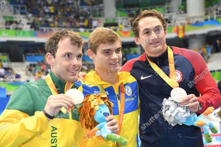 (L-R) Matthew Levy (AUS), Ievgenii Bogodaiko (UKR), Rudy Garcia Tolson (USA) - Swimming :  Men's 200m Individual Medley SM7 Medal Ceremony