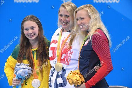 (L-R) Maddison Elliott (AUS), Stephanie Millward (GBR), Jessica Long (USA) - Swimming :  Women's 100m Backstroke S8 Medal Ceremony