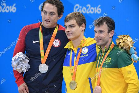 (L-R) Rudy Garcia Tolson (USA), Ievgenii Bogodaiko (UKR), Matthew Levy (AUS) - Swimming :  Men's 200m Individual Medley SM7 Medal Ceremony