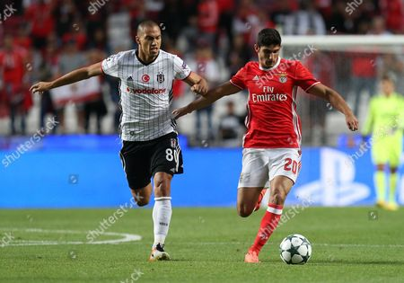 Gokhan Inler, Goncalo Guedes Besiktas' Gokhan Inler, left, tries to stop Benfica's Goncalo Guedes during the Champions League group B soccer match between Benfica and Besiktas at the Luz stadium in Lisbon