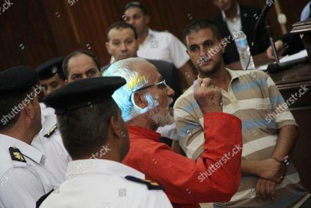 Stock Image of Egyptian Muslim Brotherhood leader Mohammed Badie speaks to judges during his trial