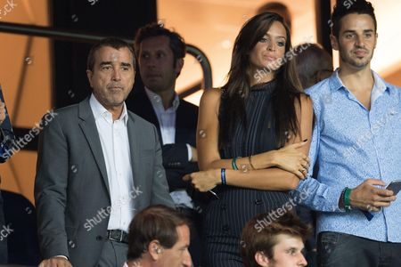 Arnaud Lagardere and his wife Jade attend the UEFA Champions League group A football match between Paris Saint-Germain and Arsenal FCat the Parc des Princes stadium