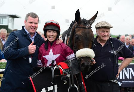 LISTOWEL. The Guinness Kerry National. WRATH OF TITANS and Lisa O'Neill after win for trainer Gordon Elliott and groom Paddy Burke.