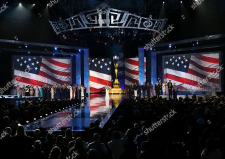 Stock Image of Betty Cantrell The outgoing Miss America, Betty Cantrell, sings the National Anthem during the Miss America 2017 pageant, in Atlantic City, N.J