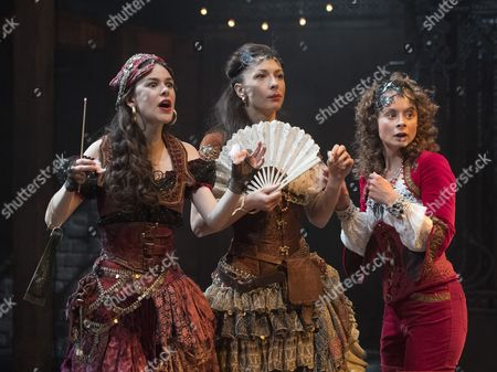 Emma Noakes as Valeria, Frances McNamee as Florinda, Faye Castelow as Hellena