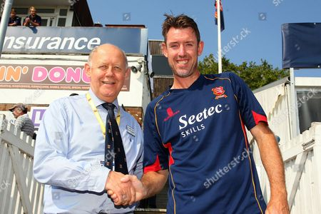 David Masters of Essex (R) with Essex CCC Chairman John Faragher as the bowler announces his retirement from cricket at the end of the 2016 season during Essex CCC vs Glamorgan CCC, Specsavers County Championship Division 2 Cricket at the Essex County Ground on 15th September 2016