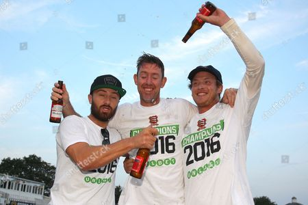 Jaik Mickleburgh (L), David Masters and Tom Westley of Essex celebrate winning the Division Two title and promotion during Essex CCC vs Glamorgan CCC, Specsavers County Championship Division 2 Cricket at the Essex County Ground on 15th September 2016