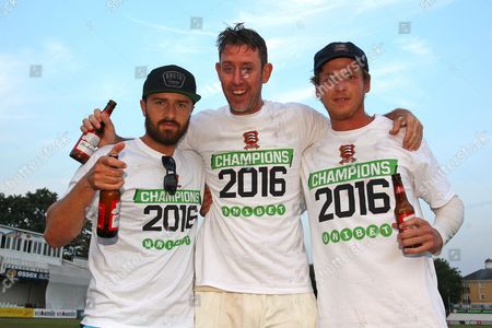 Jaik Mickleburgh (L), David Masters and Tom Westley of Essex celebrate promotion during Essex CCC vs Glamorgan CCC, Specsavers County Championship Division 2 Cricket at the Essex County Ground on 15th September 2016