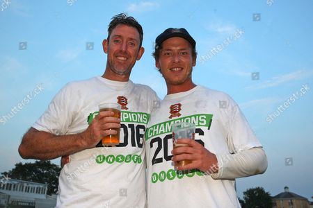 David Masters (L) and Tom Westley of Essex celebrate promotion during Essex CCC vs Glamorgan CCC, Specsavers County Championship Division 2 Cricket at the Essex County Ground on 15th September 2016