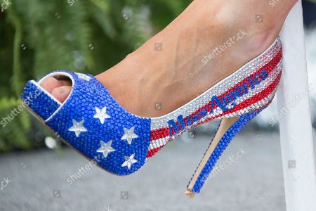 """Betty Cantrell Miss America 2016 Betty Cantrell shows off her shoe during the 2017 Miss America pageant """"Show Us Your Shoes"""" parade, in Atlantic City"""