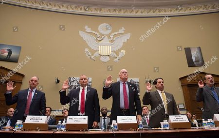 John Edwards, Tony Robinson, Jr. Shelton, Gerard Landry, Rick Ramsey From left, Louisiana Gov. John Bel Edwards, FEMA Regional Administrator Tony Robinson, Central City, La. Mayor Jr. Shelton, Denham Springs, La. Mayor Gerard Landry, and Walker, La. Mayor Rick Ramsey, are sworn in on Capitol Hill in Washington, prior to testifying before the House Oversight and Government Reform subcommittee on Transportation and Public Assets hearing on FEMA's response to the flooding in Baton Rouge, La
