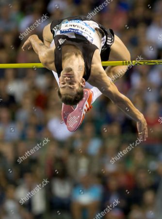 Robbie Grabarz of Great Britain competes in the Men's high jump at the Diamond League Memorial Van Damme athletics event at the King Baudouin stadium in Brussels on
