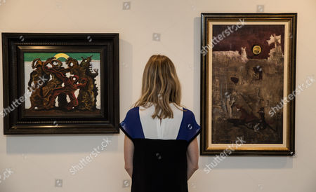 'La Horde' by Max Ernst (1927) and 'Composition' by Leonora Carrington (1950)