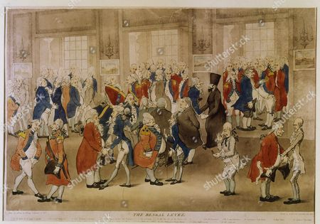 The Bengal Levee, showing Lord Charles Cornwallis, 1738-1805, British general and diplomat, holding reception at the Old Government House, Calcutta, India, etching, 1792 (James Gillray)