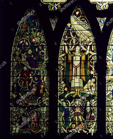 Prospero with Ariel above and Caliban below, in centre light. Left with Feste, Bottom, Malvolio and Falstaff. Right with Hamlet, Lady Macbeth. The Shakespeare window in south aisle of Southwark cathedral, London, England, unveiled 23.4.1954 by Sybil Thorndike