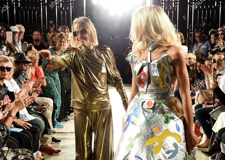 Anita Pallenberg and Alice Dellal on the catwalk