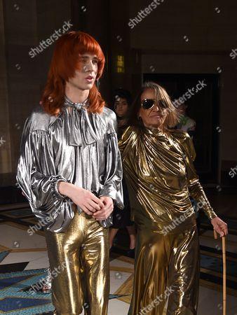 Josh Quinton and Anita Pallenberg on the catwalk