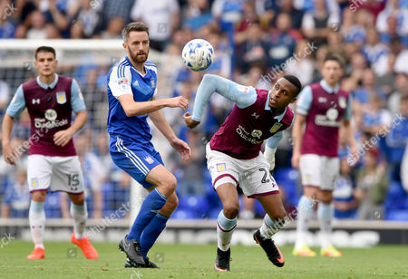 Aly Cissokho of Aston Villa with Cole Skuse of Ipswich Town- Ipswich Town v Aston Villa, Sky Bet Championship, Portman Road, Ipswich - 17th September 2016.