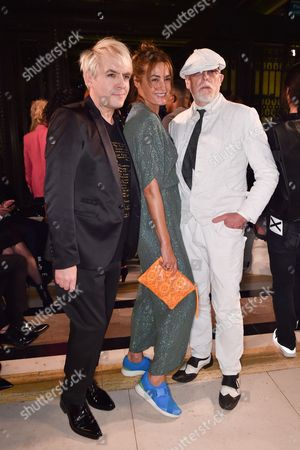 Nick Rhodes, Yasmin Le Bon and Antony Price in the front row