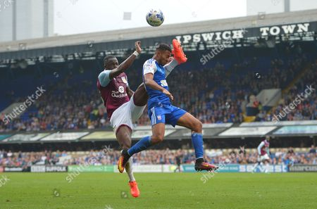 Aly Cissokho of Aston Villa and Grant Ward of Ipswich Town during the Sky Bet Championship match between Ipswich Town and Aston Villa played at Portman Road, Ipswich on 17th September 2016