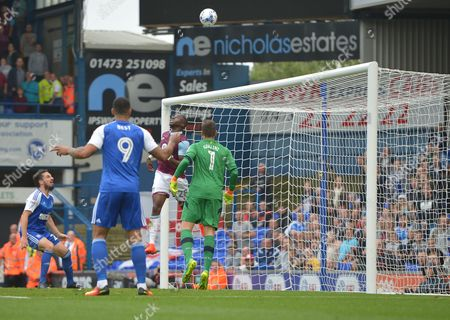 Aly Cissokho of Aston Villa clears the ball off the line during the Sky Bet Championship match between Ipswich Town and Aston Villa played at Portman Road, Ipswich on 17th September 2016