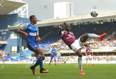 Grant Ward of Ipswich Town and Aly Cissokho of Aston Villa during the Sky Bet Championship match between Ipswich Town and Aston Villa played at Portman Road, Ipswich on 17th September 2016