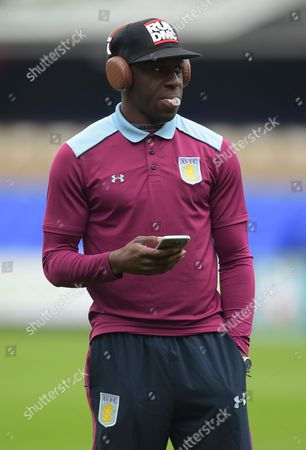 Aly Cissokho of Aston Villa chews gum during a pitch inspection ahead of the Sky Bet Championship match between Ipswich Town and Aston Villa played at Portman Road, Ipswich on 17th September 2016