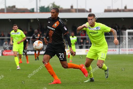 Stock Picture of Shaun Batt of Barnet and Ben Dickenson of Colchester United during Barnet vs Colchester United, Sky Bet EFL League 2 Football at the Hive Stadium on 17th September 2016
