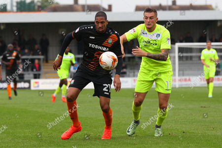 Shaun Batt of Barnet and Ben Dickenson of Colchester United during Barnet vs Colchester United, Sky Bet EFL League 2 Football at the Hive Stadium on 17th September 2016