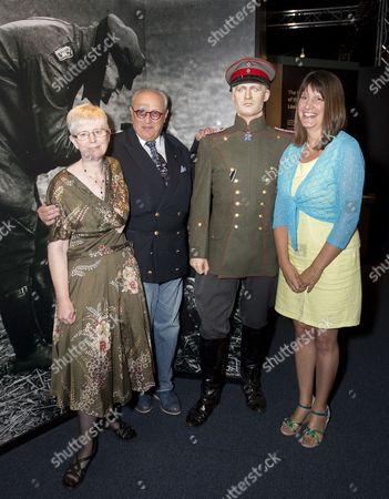 Baron Donat von Richthofen, great-nephew of Manfred von Richthofen, the Red Baron,  Jill  Bush  (wearing blue & yellow), cousin of 2 nd Lieut. Lionel Morris  (former Whitgift pupil)  and Meriel Jones  (wearing floral dress),  great-niece  of Capt. Tom Rees, among displays of original artefacts linked to their relatives.