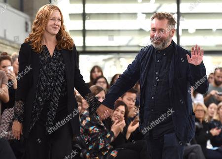 Designers Justin Thornton and Thea Bregazzi on the catwalk